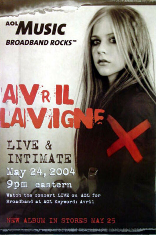 Avril Lavigne - Live & Intimate (2004) original promo poster - s-sided - rolled