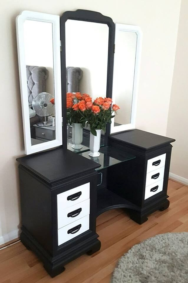 Dressing Table Twin Pedestal Oak Cheval Mirror Black And White Modern Style Bedroom