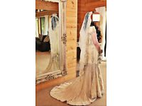 Ivory bridal lehnga, heavy work, size 8