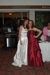 Red bridesmaids dress.