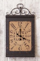 Live Laugh Love  Burlap Face Wall Clock Battery Operated 15.5W x 28.25H