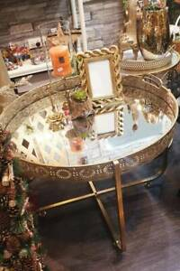 Mirrored Top Moroccan Style Gold Table