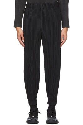HOMME PLISSE ISSEY MIYAKE PLEATED CUFFED BOTTOM TROUSER PANT BLACK JOGGER MENS