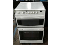 E445 white cannon 55cm double oven gas cooker comes with warranty can be delivered or collected
