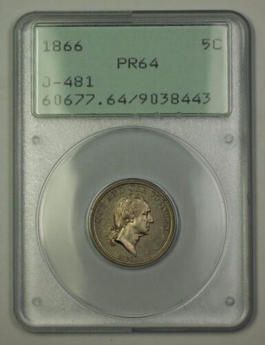 1866 Nickel Pattern Proof 5c Coin Pcgs Pr-64 J-481 Judd Ogh Rattler (better) Ww