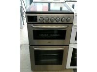 a061 stainless steel zanussi 50cm double oven ceramic hob electric cooker comes with warranty