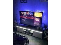 High gloss grey led light TV unit stand