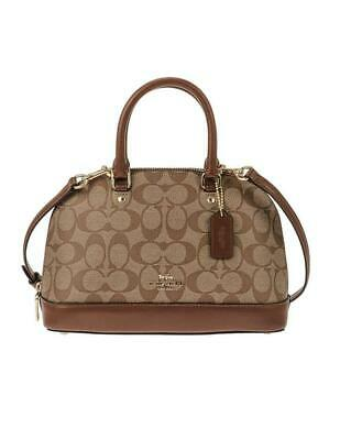 Coach Mini Sierra Signature Wide Mouth Satchel Crossbody Bag Khaki Saddle $295