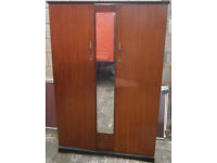 USED STURDY CONDITION, A NICE OLD DOUBLE WARDROBE WITH CENTRE MIRROR