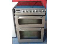 C288 stainless steel zanussi 60cm ceramic hob double oven electric cooker, Comes With Warranty