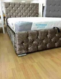 🔵💖🔴15% DISCOUNT 🔵💖🔴DOUBLE CRUSHED VELVET CHESTERFIELD BED WITH WIDE RANGE OF MATTRESS