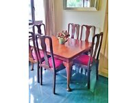 antique extending table and 6 chairs