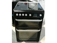 a430 black hotpoint 60cm double oven gas cooker comes with warranty can be delivered or collected