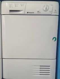 a156 white hotpoint 7kg condenser dryer comes with warranty can be delivered or collected
