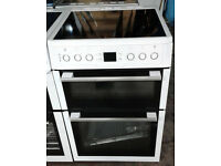 b110 white beko 60cm ceramic double electric cooker new graded with 12 month warranty