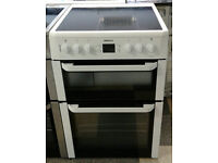 a428 white beko 60cm ceramic hob double oven electric cooker comes with warranty can be delivered