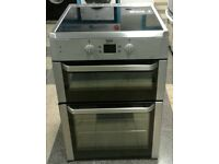 c629 stainless steel beko 60cm double oven induction hob electric cooker comes with warranty