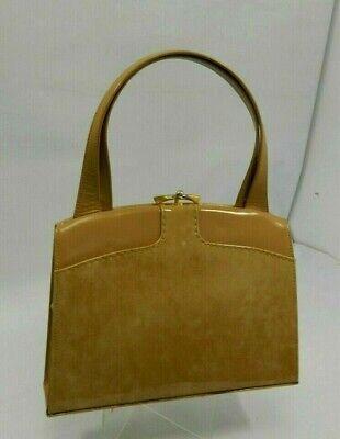 VINTAGE WALDYBAG Patent Desert Sand handbag with original mirror and purse