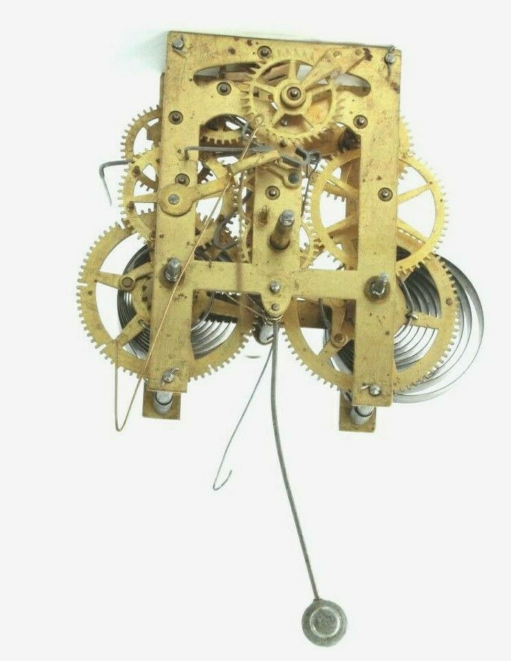 ANTIQUE Time/ Strike/ Calendar Early PARLOR KITCHEN Clock Movement For Parts - $59.00