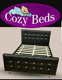 Cube Diamante Leather Bed With Crystal Diamonds in BLACK CREEM WHITE &BROWN COLOURS