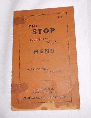 Vtg Menu The Stop 910 Franklin St Michigan City Indiana IN Restaurant 1930's 20s