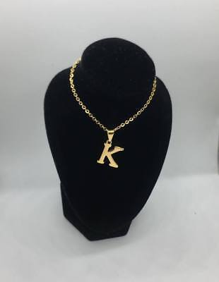 18k real gold plated initial necklace stainless steel
