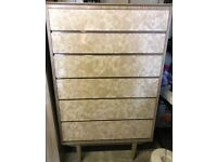 """Vintage Beige Marble Effect Formica Chest of Drawers/Tall Boy 30"""" Wide, 18"""" Depth, 50"""" Height."""