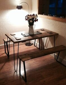 4 Hairpin Legs + 4 Bench Brackets (Lacquered) Retro, Eames Era. Upcycling Kit