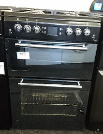 lo78 black and mirror finish leisure 60cm double oven gas cooker new graded with 12 months warranty