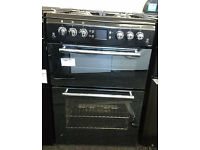 *78 black & mirrored leisure 60cm double oven gas cooker comes with warranty can be delivered