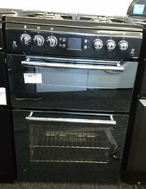 D078 black & mirrored leisure 60cm twin cavity gas cooker graded with 12 months warranty