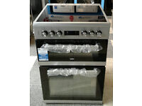 a759 silver beko 60cm double oven ceramic hob electric cooker new with manufacturers warranty
