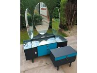 Dressing Table Mid Century Modern Bedroom Furniture Teal and Black 3 Mirrors & Bedside