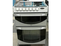 l345 white belling 60cm gas hob double electric oven dual fuel cooker comes with warranty