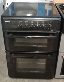 H315 black beko 60cm double oven ceramic hob electric cooker comes with warranty can be delivered
