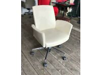 Cream Leather Swivel Chair by Kusch + Co