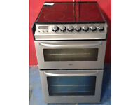 c341 stainless steel zanussi 55cm double oven electric cooker comes with warranty can be delivered