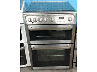b578 stainless steel hotpoint 60cm double oven gas cooker comes with warranty can be delivered