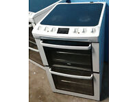 o114 white zanussi 55cm double oven ceramic hob electric cooker comes with warranty can be delivered