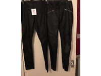 TWO Pairs of Faux Leather PU Leggings Size 10