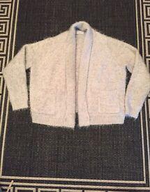 Size 12 grey fluffy cardigan