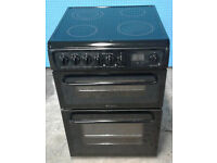 t190 black hotpoint 60cm double oven ceramic hob electric cooker comes with warranty can deliver