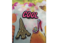 Three brand new new cute iron on patches (can be applied to t-shirts, jeans, jackets, bags ect..