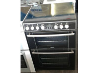a355 black belling 60cm ceramic hob double oven electric cooker comes with warranty can be delivered