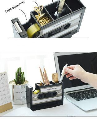 Vintage Retro Cassette Tape Dispenser And Desktop Box For Office Desk Organizer