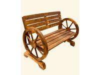 Oak Wheel Garden wood bench chair
