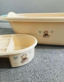 Baby bath with matching caddy and Bath seat