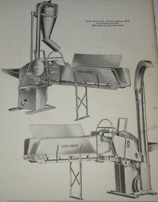 John Deere No.114 Feed Grinder Roughage Mill Parts Catalog Manual Book Original