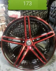 NEW!! 18 inch METALLIC BLACK AND METALLIC RED WHEELS and TIRES!! ---- CUSTOM COLOR!!  - 173