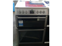 a102 silver beko 60cm ceramic hob double oven electric cooker new graded with 12 month warranty